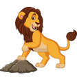 cartoon smiling lion posing vector image vector image