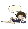 cartoon woman in sexy pose with speech bubble vector image vector image