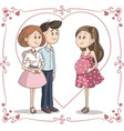couple congratulating young woman on her pregnancy vector image vector image