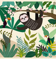 cute sloth in spring summer forest vector image