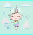 Cute unicorn girl cartoon in rainbow dress flying