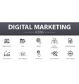digital marketing simple concept icons set vector image vector image