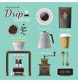 Drip coffee brewing guide set vector image vector image