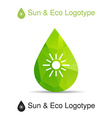 Ecology logotype icon and nature symbol sun in vector image