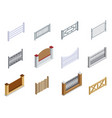 fence metal brick wooden isometric icons set vector image vector image