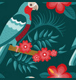 flat red crowned amazon parrot seamless pattern vector image