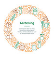flower and gardening banner card circle vector image vector image