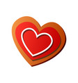 fresh tasty heart gingerbread in red color and vector image vector image