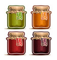 fruit jam in glass jars vector image vector image