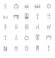 furniture line icons with reflect on white vector image vector image