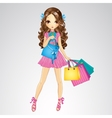 Girl In Pink Dress Do Shopping vector image vector image
