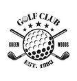 golf club monochrome emblem with ball vector image vector image