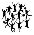 happy jumping business silhouettes vector image vector image