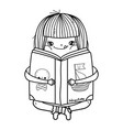 happy little girl reading book vector image vector image