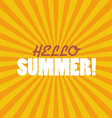 Hello Summer on sunburst pattern vector image