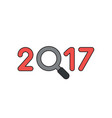 icon concept 2017 with magnifying glass black vector image vector image
