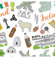 ireland sketch doodles seamless pattern irish vector image
