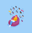 isometric social network concept woman laptop vector image vector image