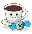 kawaii coffee cup candy image vector image vector image