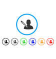 man vaccination rounded icon vector image