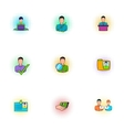 Manager icons set pop-art style vector image vector image