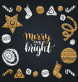 merry and bright lettering design with new vector image