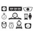 monochrome different clocks vector image vector image