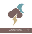 moon cloud lightning icon meteorology weather vector image vector image