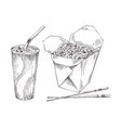 noodles in box and paper cup drink sketch icon set vector image vector image