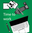 notebook pencil camera on a green vector image