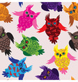 Owl bird seamless icon detail background vector image vector image