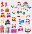 owl christmas ornaments and gifts set vector image vector image
