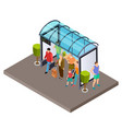 people are waiting for bus at bus stop vector image vector image