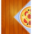 Pizza in White Plate on Kitchen Napkin at Wooden vector image vector image