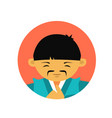 portrait of asian man with mustache in traditional vector image vector image