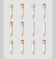 realistic white wooden sharp pencil icon vector image vector image