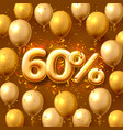 sale 60 off ballon number on red background vector image vector image