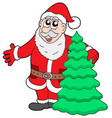 santa clause with tree vector image