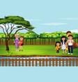 scene with family in park vector image vector image