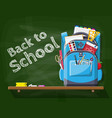 school green chalkboard with backpack vector image