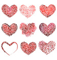 Set of abstract hearts vector image vector image
