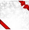 Shiny silver background with red bow vector image vector image