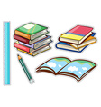 Sticker set with books and stationaries vector image vector image