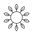 sun with leaves rays and copyspace linear icon vector image vector image