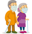two old people holding hands - grandmother and gra vector image