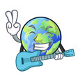 with guitar picture of the cartoon langait earth vector image