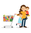 woman with kids and shoping cart vector image vector image
