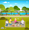 young group of friends weekend picnic in park vector image vector image