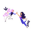 young women giving high five smiling on abstract vector image vector image