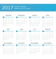 English calendar for 2017 years vector image